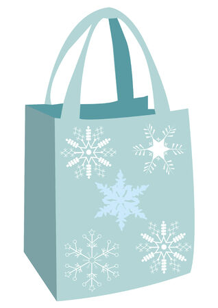 plastic art: shopping bag with snowflakes