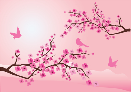 cherry blossom with birds Vector