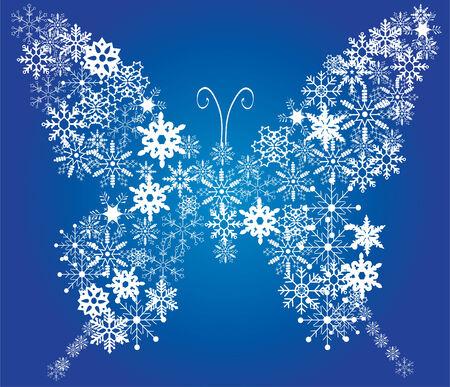 tekening vlinder: sneeuw vlinder  Stock Illustratie