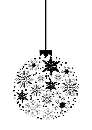 appendere: albero di Natale palla fatta di fiocchi di neve Vettoriali