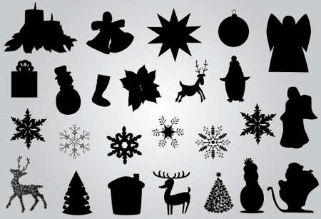 different christmas and new year elments or icons Vector