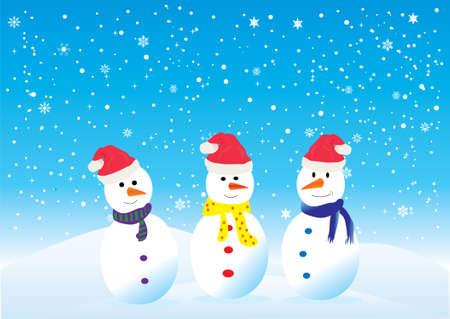 three funny snowmen in santa hats 向量圖像