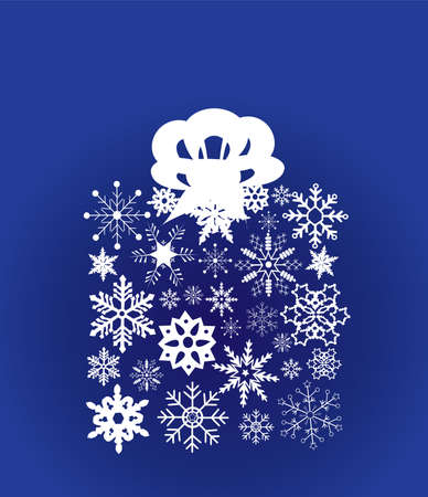 christmas box made of snowflakes with ribbon Stock Vector - 8266164