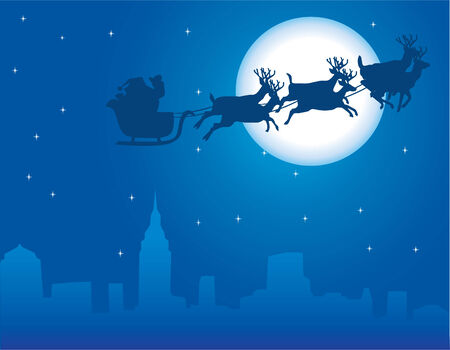 urban holiday background with santa claus Vector
