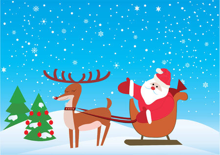 christmas background with santa and rudolf  Ilustrace