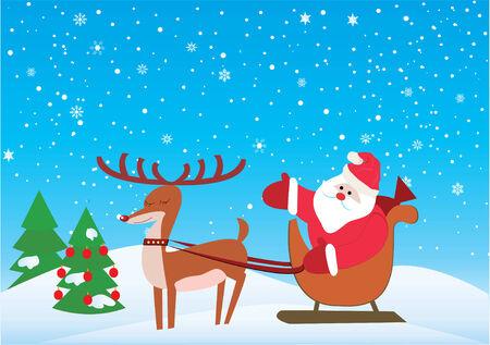 Christmas Background with Santa und rudolf  Illustration