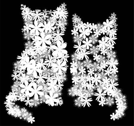 silueta de gato: dos blancos gatitos florales sobre fondo negro