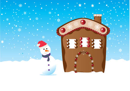 snowman standing next to ginger house in the snow Stock Vector - 8266167