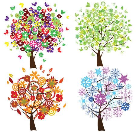 snow ground: four different season trees Illustration