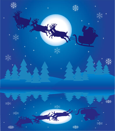holiday background with santa and reflection Stock Vector - 8266189