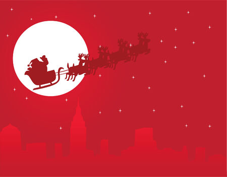urban holiday background with santa Stock Vector - 8266184