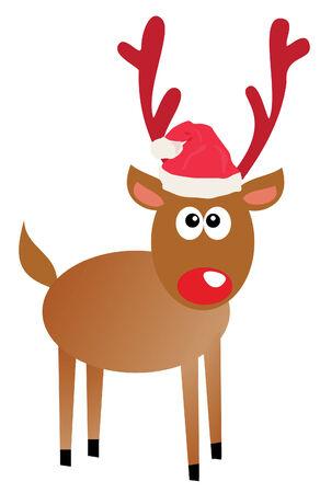 funny rudolf in santa hat Vector