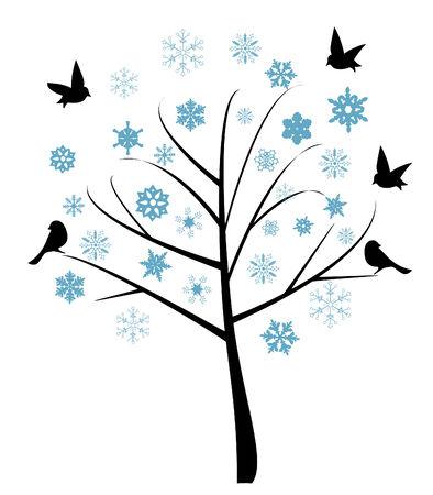 kale: vector illustratie van abstracte boom met vogels en sneeuwvlokken