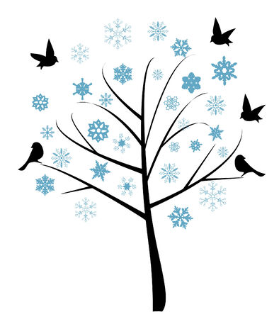 vector illustration of abstract tree with birds and snowflakes