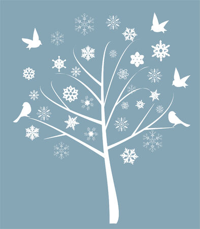 vector illustration of abstract tree with birds and snowflakes Vector