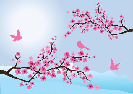 vector illustration of cherry blossom with birds and mountains at the background