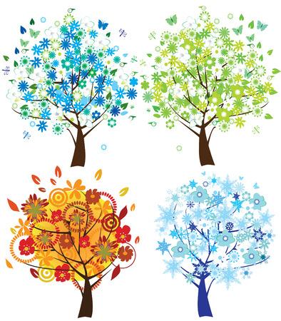 zomertuin: vector illustratie van seizoen bomen: lente, zomer, vallen en de winter Stock Illustratie