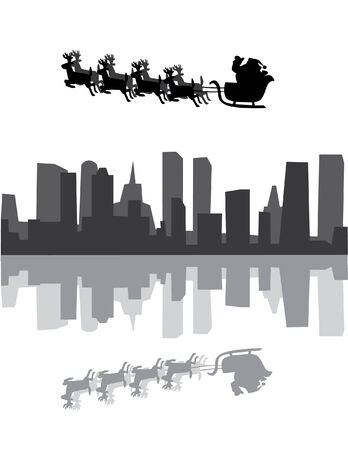 vector urban holiday background with santa claus