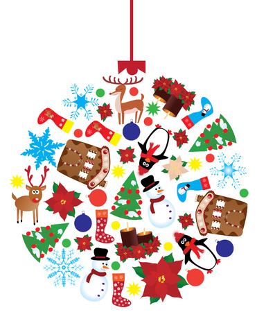 vector christmas ball made of different x-mas elements Ilustrace