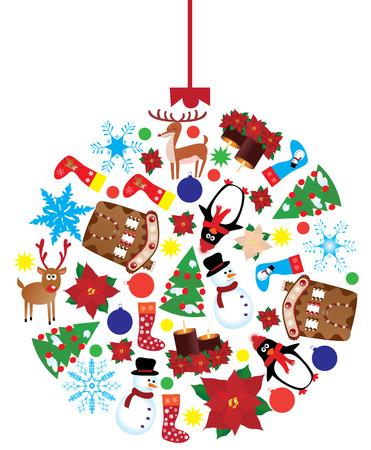 vector Kerst bal gemaakt van verschillende x-mas elementen
