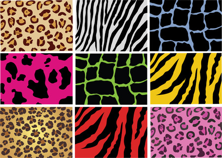 human skin texture: pelle di diversi animali selvatici e domestici Vettoriali