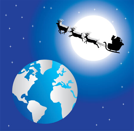 holiday background with santa in space Stock Vector - 8393311