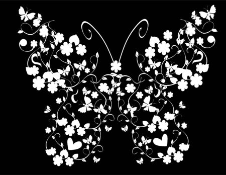 white vintage butterfly Stock Vector - 8393315