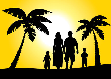 happy family on vacation Vector