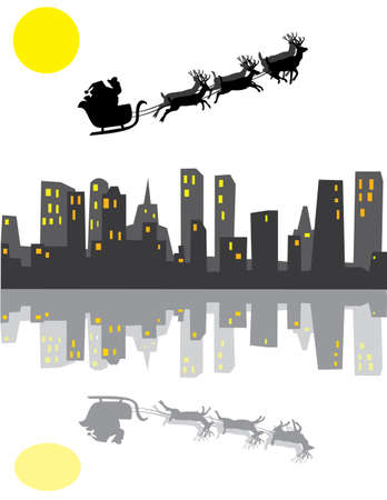 holiday background with santa and reflection Stock Vector - 8393307