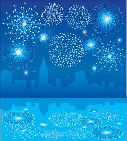 Blauwe vuur werk over stad met reflectie Stock Illustratie