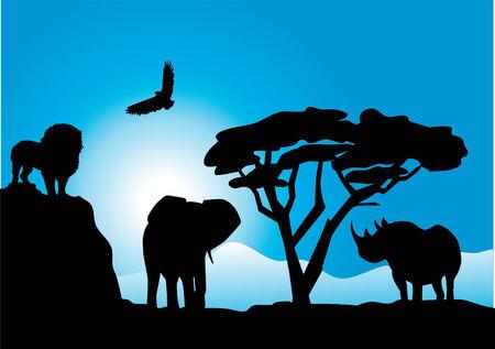 動物とアフリカの風景