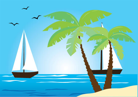 beach sunset: tropical illustration with sailboats Illustration