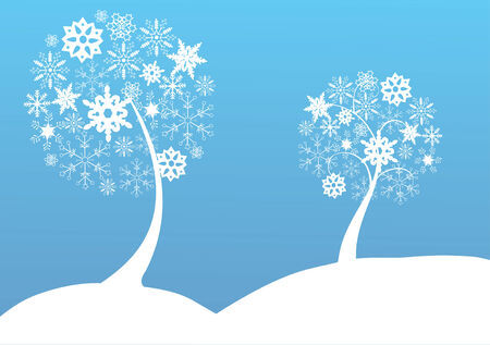 flakes: snow trees Illustration