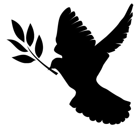 dove silhouette with olive branch Vettoriali