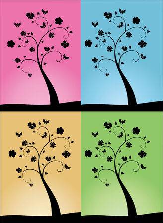 tree silhouettes on four different backgrounds
