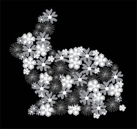 floral silver rabbit Vector