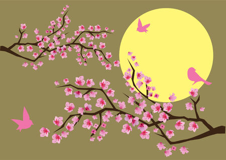 cherry branches in blossom with birds and moon background Vector