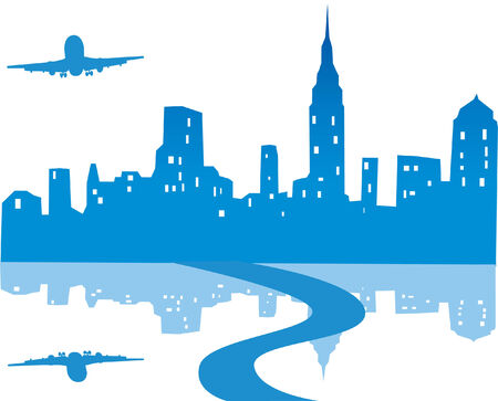 city background with reflection and plane Vector