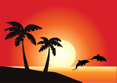 beach sunset: beach with ocean and jumping dolphins Illustration
