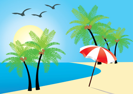 beach with palms, ocean and umbrella Vector