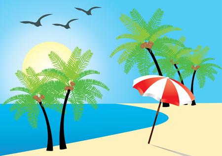 plage avec palmes, océan et parapluie