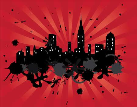 grunge city on red light burst background Stock Vector - 8533446