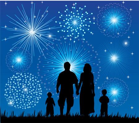 familia feliz viendo los fuegos artificiales Ilustración de vector
