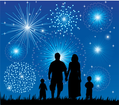 children silhouettes: happy family watching fireworks Illustration