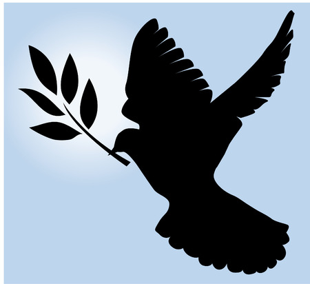 dove silhouette with olive branch and blue sky background Vector