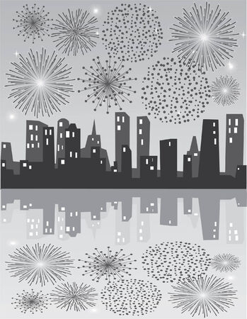 grey fireworks over grey city with reflection 向量圖像