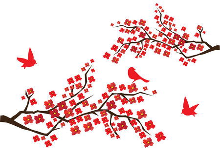 blossom branches with red flowers and birds Иллюстрация