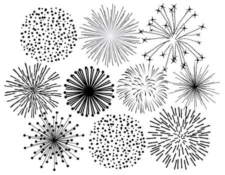 black fireworks on white background Illustration