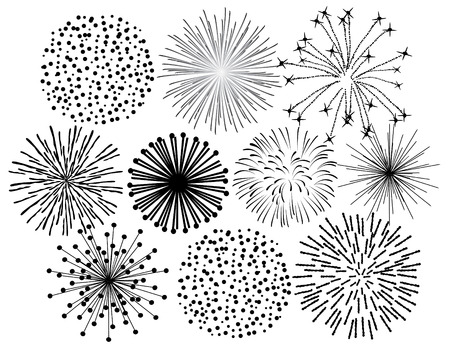 black fireworks on white background Illustration