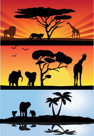 Afrikaanse landschappen met dieren Stock Illustratie